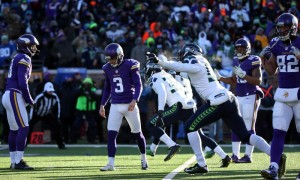 Blair Walsh and the Vikings found a new way to lose in the playoffs while the two-time defending NFC champion Seahawks moved on to the divisional round.