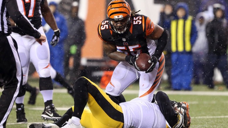 Vontaze Burfict and the undisciplined Bengals got kicked by karma in Saturday's loss to the Steelers. (Photo credit: Aaron Doster-USA TODAY Sports)