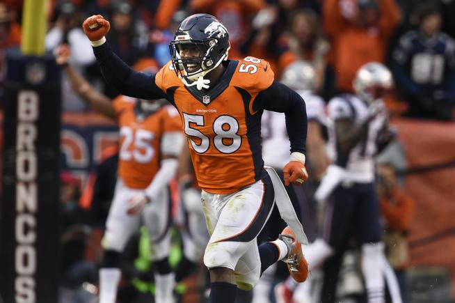 Von Miller, who missed Super Bowl XLVII with a torn ACL, is coming off a dominant AFC championship game performance in which he recorded 2.5 sacks and an interception (Photo Credit: Joe Amon/The Denver Post)