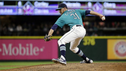 Steve Cishek leads a revamped Mariners bullpen. The team is an MLB-best 18-7 on the road this season. (AP Photo Credit: Ted S. Warren.)