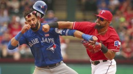 Things got ugly in Texas yesterday, with Rougned Odor clocking Jose Bautista in the jaw after a hard slide.