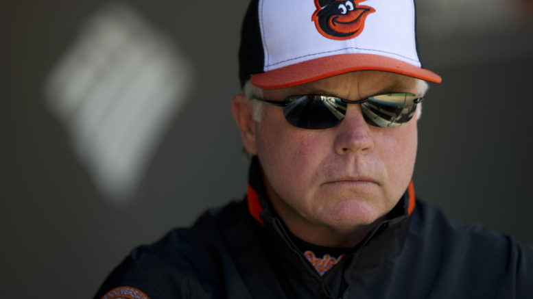 Orioles manager Buck Showalter never let Zach Britton, the game's best closer, see the field in 11 innings last night in the AL wild card game. (Photo Credit: Scott Clarke / ESPN.)