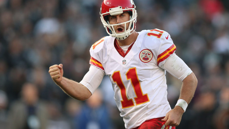 Alex Smith and the Chiefs can seize first place in the AFC West with a win over the Raiders on Thursday Night Football (Photo Credit: Jed Jacobsohn/Getty Images.)