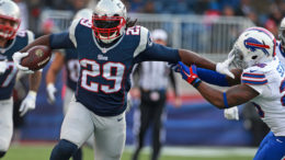 Patriots running back LeGarrette Blount, who literally walked out on the Steelers in 2014, could end up being a thorn in the side of his former mates yet again on Sunday. (Photo Credit: Jim Davis.)